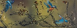 Kingfisher Tales by Kay Davenport - Original Painting on Box Canvas sized 48x18 inches. Available from Whitewall Galleries